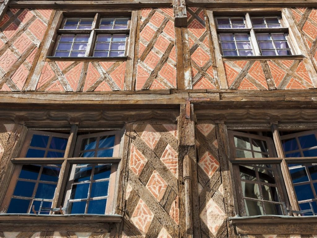 Facade of a beautiful medieval house in downtown Saumur