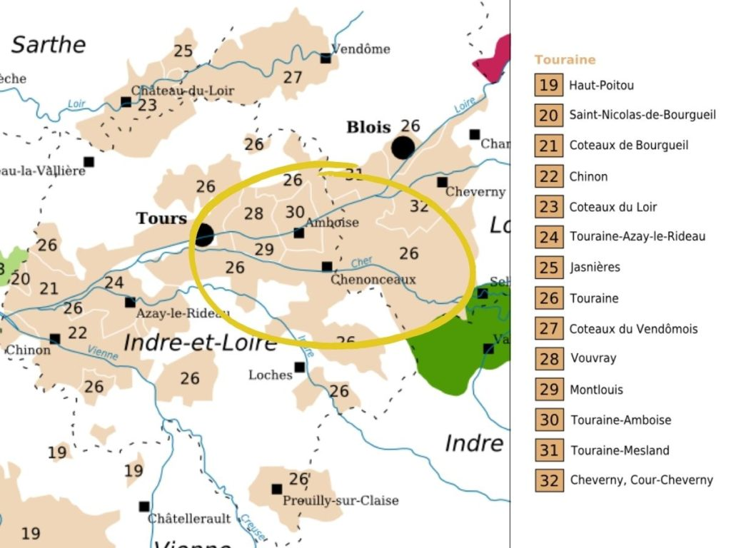 Map of Touraine wine appellations